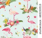 Flamingo Bird And Tropical...