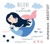 beautiful mermaid girl vector... | Shutterstock .eps vector #683237107