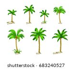 set tropical palm trees with... | Shutterstock .eps vector #683240527