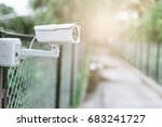 camera cctv on private entrance ... | Shutterstock . vector #683241727