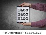 hands with blog blog blog... | Shutterstock . vector #683241823