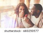 cheerful handsome man proposing ... | Shutterstock . vector #683250577