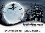 halloween night background with ... | Shutterstock .eps vector #683250853
