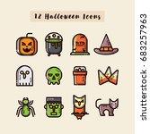 halloween set icon flat  | Shutterstock .eps vector #683257963