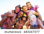 happy young multiethnic friends ... | Shutterstock . vector #683267377