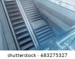 Small photo of Empty escalator and stairs are in air terminal