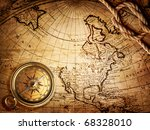 old compass and rope on vintage ... | Shutterstock . vector #68328010