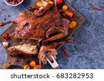 roast duck. crispy sliced duck.  | Shutterstock . vector #683282953