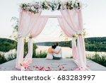 happy bride and groom after...   Shutterstock . vector #683283997