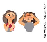woman having flu symptoms  ... | Shutterstock .eps vector #683287537