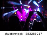 people filming music concert on ... | Shutterstock . vector #683289217