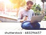 smiling hipster guy in optical... | Shutterstock . vector #683296657
