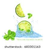 fresh mint and limes in water... | Shutterstock .eps vector #683301163