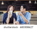 couple having coffee and hold... | Shutterstock . vector #683308627