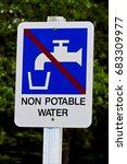 Small photo of Closeup of a non potable water sign.