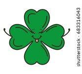 saint patrick clover kawaii... | Shutterstock .eps vector #683316043
