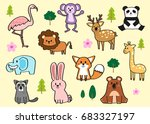 vector set of woodland animals... | Shutterstock .eps vector #683327197