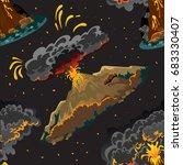 a set of volcanoes of varying... | Shutterstock .eps vector #683330407