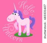 cute unicorn isolated set ... | Shutterstock .eps vector #683331607