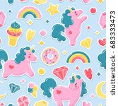unicorn cute seamless pattern.... | Shutterstock .eps vector #683333473