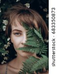 stylish hipster woman with fern ... | Shutterstock . vector #683350873