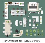 interior icons top view  tree  ... | Shutterstock .eps vector #683364493