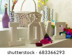 a table decoration with love... | Shutterstock . vector #683366293