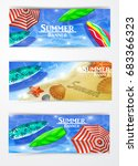 colorful umbrella swimming pool | Shutterstock .eps vector #683366323