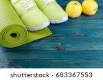 sport background. yoga mat ... | Shutterstock . vector #683367553