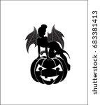 halloween fairy on pumpkin ... | Shutterstock .eps vector #683381413