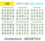 vector set of 120 spot line web ... | Shutterstock .eps vector #683387923