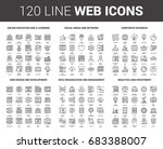 vector set of 120 flat line web ... | Shutterstock .eps vector #683388007