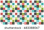 vector set of 180 flat line web ... | Shutterstock .eps vector #683388067