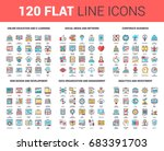 vector set of 120 flat line web ... | Shutterstock .eps vector #683391703