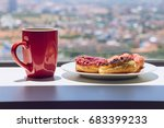 red cup of coffee and chocolate ... | Shutterstock . vector #683399233