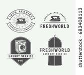 set of vintage laundry ... | Shutterstock .eps vector #683408113