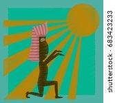 flat shading style icon mummy... | Shutterstock .eps vector #683423233
