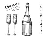 vector set with sketch champagne | Shutterstock .eps vector #683424097