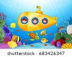 little kids in submarine on the ... | Shutterstock .eps vector #683426347
