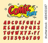 Comic retro font set. Alphabet letters & number in style of comics, pop art for title, headline, poster, comics, or banner design. Cartoon typography collection. | Shutterstock vector #683433187