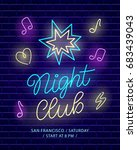 night club neon banner. dark... | Shutterstock .eps vector #683439043