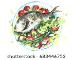 watercolor plate with fish and...   Shutterstock . vector #683446753