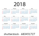 calendar 2018 year simple style.... | Shutterstock .eps vector #683451727