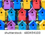 background of colorful houses... | Shutterstock . vector #683454103