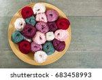 Balls Of Wool On Bamboo Dish ...