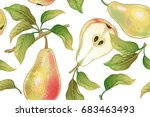 seamless pattern with pears.... | Shutterstock .eps vector #683463493