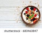bowl of greek yogurt with... | Shutterstock . vector #683463847