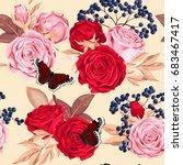 Stock vector beautiful roses seamless 683467417