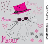 sweet kitten our pi in a cap... | Shutterstock .eps vector #683470597