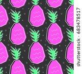 flat line pineapple pattern... | Shutterstock .eps vector #683478517